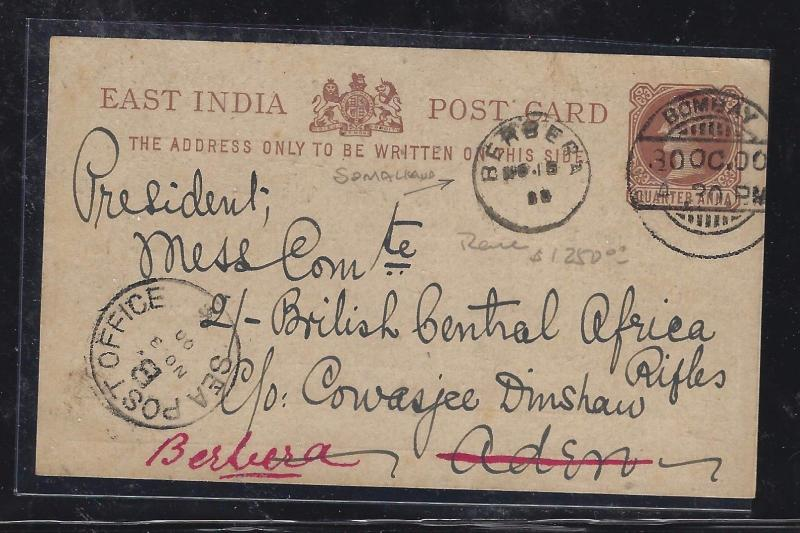 SOMALILAND COVER (P0312B) 1900 INWARD PSC FROM INDIA TO ADEN FWD TO BERBERA WOW!