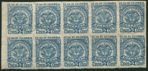 Colombia Cundinamarca 11 block/10,MNH.Michel 11-II. Coat of Arms,redrawn,1884.