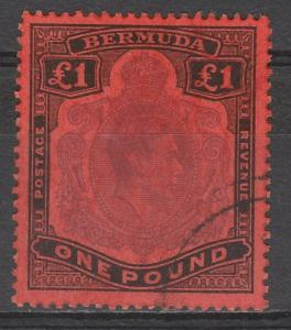 BERMUDA 1938 KGVI 1 POUND TOP VALUE PERF 13