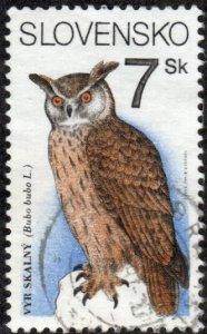 Slovakia 186 - Used - 7s Eurasian Eagle-owl (1994) (cv $0.60)