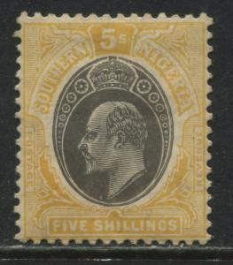 Southern Nigeria KEVII 1908 5/ on chalky paper mint o.g.