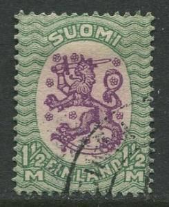 Finland - Scott 103 - Arms of Republic -1917- Used - Single 1.5m Stamp