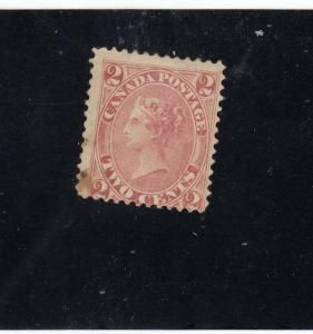 CANADA # 20 F-MH W MARK 2cts QUEEN VICTORIA / ROSE CAT VALUE $200