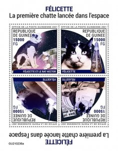 GUINEA - 2021 - Felicitte, Cat in Space - Perf 4v Sheet - Mint Never Hinged