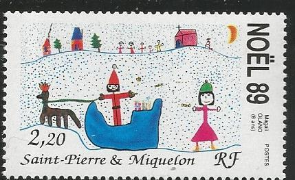 ST. PIERRE & MIQUELON 521, MNH STAMP,CHRISTMAS 1989, KID'S DRAWING