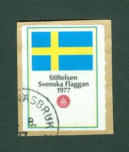 Sweden Poster Stamp 1977 On Paper. National Day June 6. Swedish Flag. Cancel