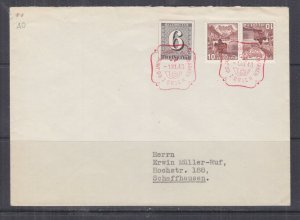 SWITZERLAND, 1943 Zurich Stamp Centenary imperf. 6c. from Souvenir Sheet cover.