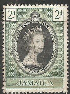 Jamaica Stamp - Scott #153/CD312 2p Dark Green & Black Canc/LH 1953