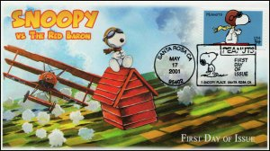AO-3507, 2001, Peanuts, Snoopy vs Red Baron, Add-on Cachet, FDC, Pictorial