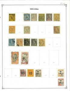 Indo-China 1889-1933 M & U Hinged on Scott Interntional Blank Pages.