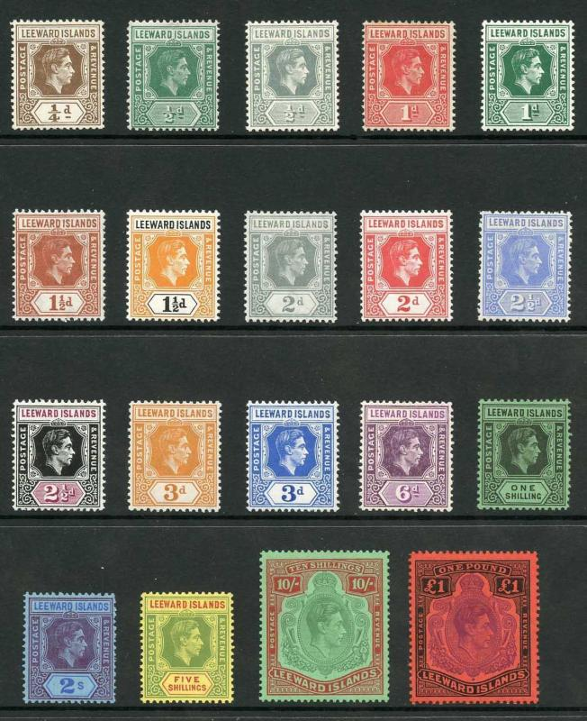 Leeward Islands SG90/114c KGVI Set of 19 Wmk Mult Script CA M/M