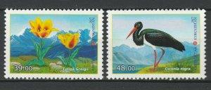 Kyrgyzstan 2017 Birds & Flowers 2 MNH stamps