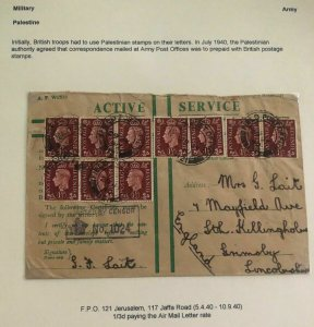1944 Jerusalem Palestine British Field Post Active Service Cover To England