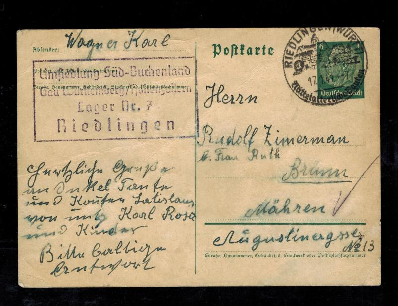1941 Niedlingen Germany SS Race Resettlement Camp Postcard Cover to Brunn BM