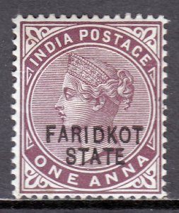 India (Faridkot) - Scott #5 - MH - Pencil & dark brown spot/rev. - SCV $2.25