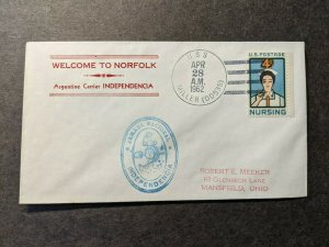 USS MILLER DD-535 Naval Cover 1962 ARGENTINA Carrier INDEPENDENCIA Cachet