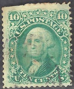USA #68 Used 1861 Single 10c Stamp