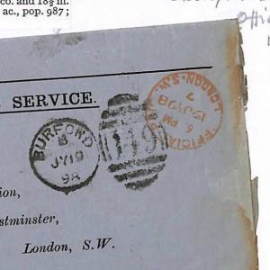 N73 1898 Burford, Oxon. Numerals Official. Unusual OHMS item.