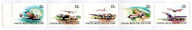 COCOS ISLAND 72a MH STRIP/5 SCV $1.50 BIN $0.75 AIRPLANES