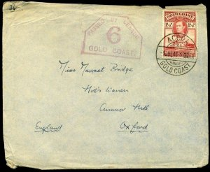 Gold Coast WWII 1941 KGVI Accra to Oxford Passed By Censor 6