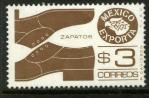 MEXICO Exporta 1171, $3P Shoes, Light Brown Wmkd Paper 2 MNH