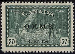 Canada - #O9 - 1949 50c Lumber Ovpt. O.H.M.S. VF-NH Only 30,000 Issued.