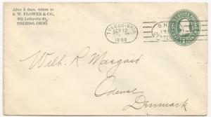 US ADV CC Postal Stationery Cover Toledo, OH Sep 12, 1899 Ohio Centenial Cancel