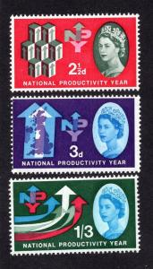 Great Britain  #387-389 MNH 1962  productivity  complete