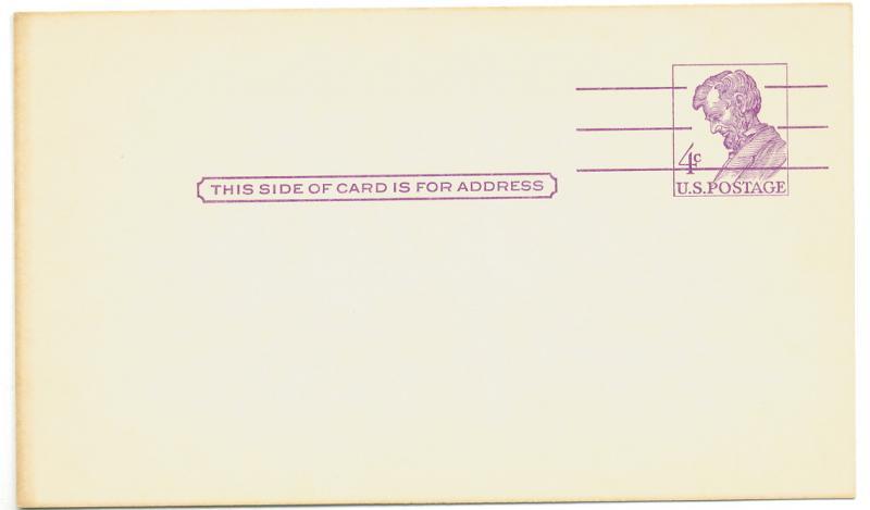 US Scott's #UX48 1962 4 Cent Lincoln - Postcard Unused