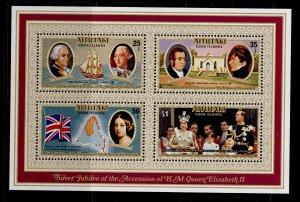 COOK ISLANDS - Aitutaki QEII SG MS229, 1977 Silver Jubilee mini sheet, NH MINT.
