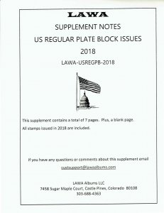 2018 US REGULAR PLATE BLOCK SUPPLEMENT – LAWA Album Pages