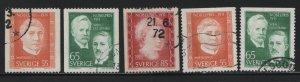 SWEDEN, 909-913, SET (5), USED, 1971, PORTRAIT TYPES