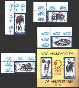 Bulgaria. 1983. 3183-86, bl132. Los Angeles Summer Olympics. MNH.