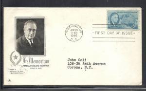 US #933 Roosevelt Artcraft cachet addressed fdc