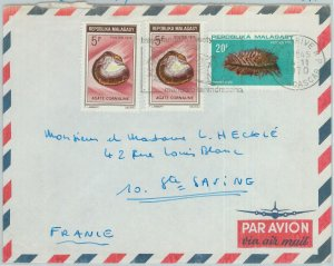 81029 - MADAGASCAR - POSTAL HISTORY -  COVER to FRANCE 1970 SHELLS Fire MINERALS