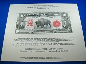 NUMISMATIC SOUVENIR CARD - 1980 INTERNATIONAL PAPER MONEY SHOW - SCOTT #NSC13