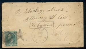 1882, Early SIGEL, PA fancy Star cancel tying 3¢ on cover to LEBANON
