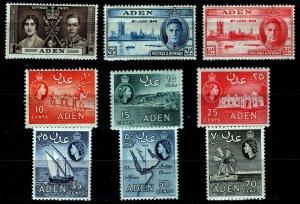 Aden Collection: Sc #13 MNH, #28 & 29 MLH, #49 thru 54 MNH