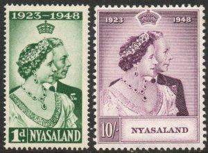 NYASALAND-1948 Royal Silver Wedding Set Sg 161-162 LIGHTLY MOUNTED MINT V37540