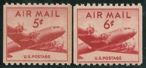 #C37, C41 1948-9 5c & 6c DC-4 SKYMASTER AIRMAIL COIL ISSUES MINT-OG/NH