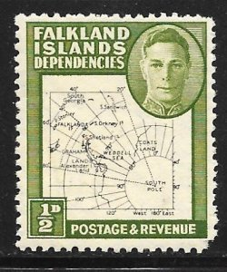 Falkland Islands Dependency 1L1: 1/2d Map fine line, MH,F-VF