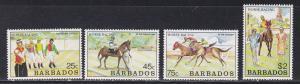 Barbados # 773-776, Horse Racing, NH, 1/2 Cat.