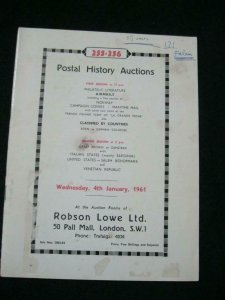 ROBSON LOWE AUCTION CATALOGUE 1964 POSTAL HISTORY AUCTIONS WITH NORWAY SARDINIA