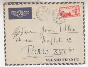 FRENCH INDO CHINA, 1939 Airmail cover, Hanoi to France, 37c.