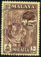 Tiger, Melaka Tree, Mouse Deer, Malaya Malacca SC#61 used