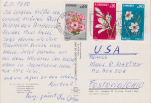 Andorra French Administration 65c Tobacco, 30c Lily and 90c Narcissuses 1980 ...