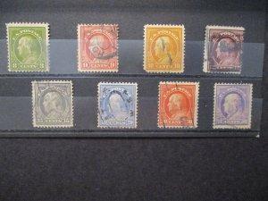 US Bureau Stamp Issue 1912 S# 414-421, 8v Franklin's 8c-50c  Pf 12 wtmk Used set