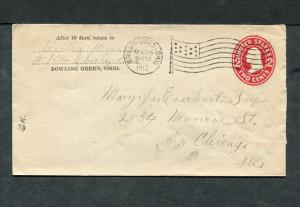 Postal History - Bowling Green OH 1912 American Flag AMF-A14 Cancel PS B0602
