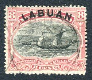 Labuan 1894. 8c rose red. P13.5 -14. Used. SG68a.
