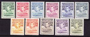 BASUTOLAND 1938 KGVI PICTORIALS  SET 11 MLH SG18/28